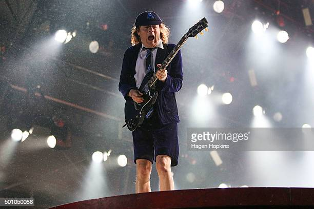 Lead guitarist Angus Young of AC/DC performs live at Westpac Stadium on December 12 2015 in Wellington New Zealand