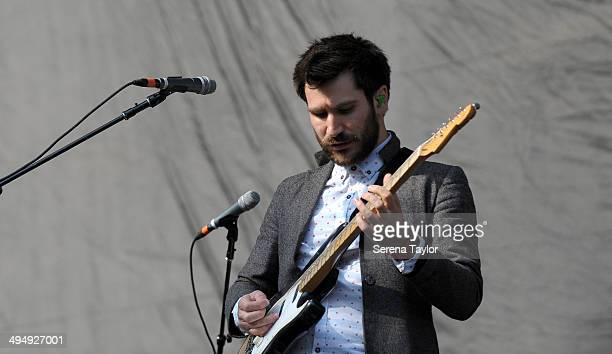 Lead Guitarist Barry McKenna of Twin Atlantic plays the guitar during the Kings of Leon Tour at St James' Park on May 31 in Newcastle upon Tyne...