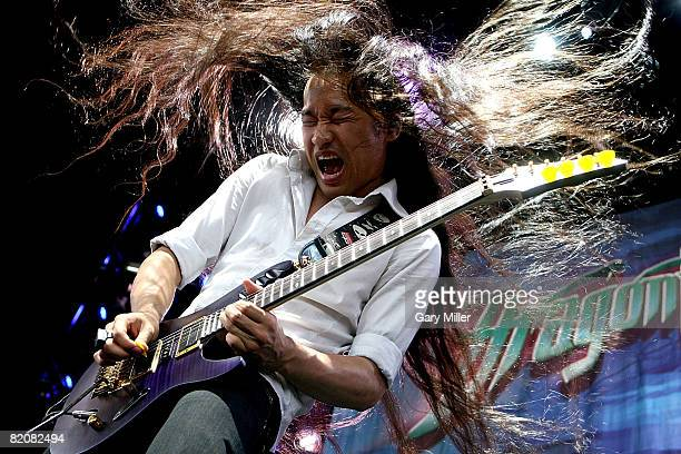 Lead Guitarist Herman Li of Dragonforce performs during the Rockstar Energy Mayhem Festival at the Verizon Wireless Amphitheater on July 26 2008 in...