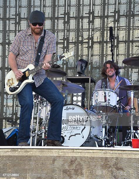 Lead guitarist James Young and drummer Chris Thompson of the Eli Young Band perform during Stagecoach California's Country Music Festival day 2 at...