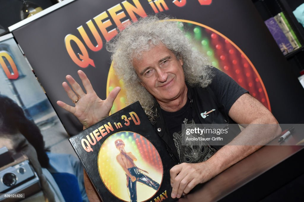 Lead guitarist of Queen Brian May signs copies of his new book 'Queen in 3-D' at Book Soup on August 24, 2017 in West Hollywood, California.
