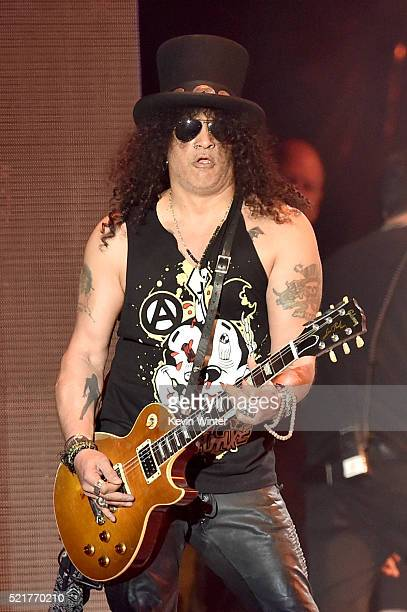 Lead guitarist Slash of Guns N' Roses performs onstage during day 2 of the 2016 Coachella Valley Music Arts Festival Weekend 1 at the Empire Polo...