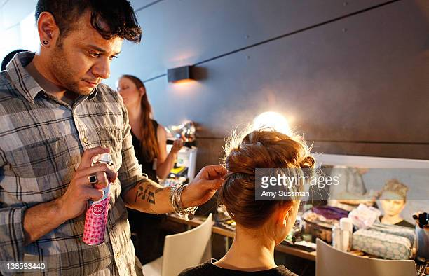 Lead hairstylist Cesar Ramirez uses Batiste Dry Shampoo at Katie Gallagher Fall 2012 Fashion Show at The Standard Hotel The High Line Room on...
