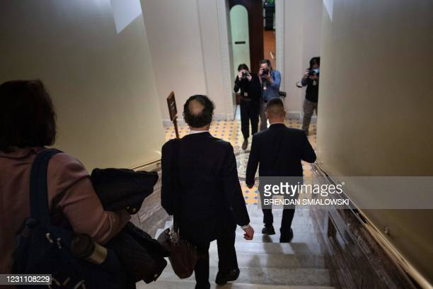 Lead impeachment manager Rep. Jamie Raskin walks down the stairs that Officer Eugene Goodman diverted rioters up during the January 6 riots as he...