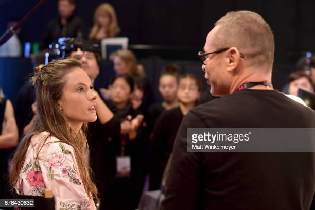 Lead Make Up Artist Tom Pecheux and Alessandra Ambrosio prepare in the Hair and Makeup room during 2017 Victoria's Secret Fashion Show In Shanghai at...