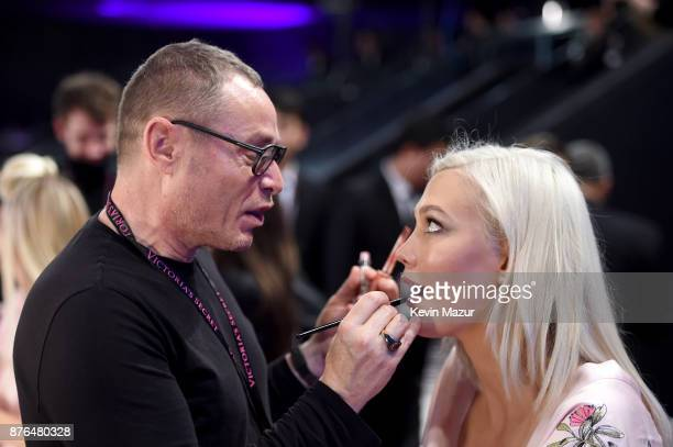 Lead Makeup Artist Tom Pecheux and Karlie Kloss in Hair Makeup during 2017 Victoria's Secret Fashion Show In Shanghai at MercedesBenz Arena on...