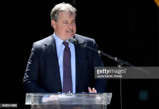 Lead managing owner of the Los Angeles FC Larry Berg speaks to fans and media at the ribbon cutting ceremony for the new home of the Los Angeles FC...