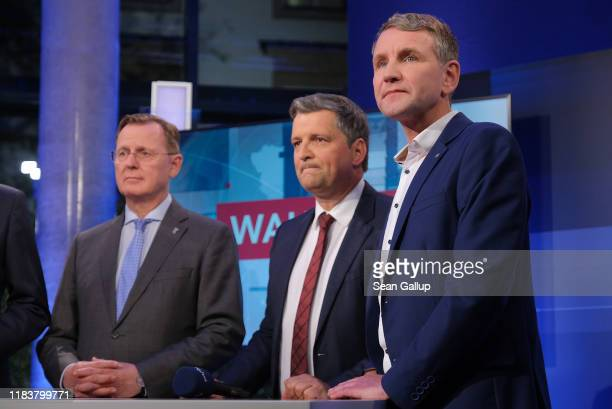 Lead party candidates, including Bjoern Hoecke of the right-wing Alternative for Germany and Bodo Ramelow of Die Linke , arrive for a television...