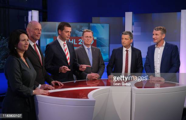 Lead party candidates, including Bjoern Hoecke of the right-wing Alternative for Germany , Bodo Ramelow of Die Linke Mike Mohring of the German...