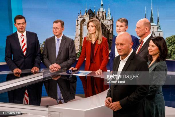 Lead party candidates, including Mike Mohring of the German Christian Democrats , Bodo Ramelow of Die Linke , Bjoern Hoecke of the right-wing...