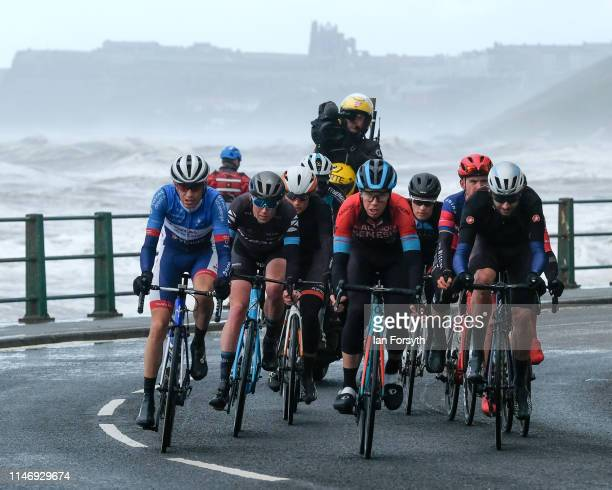 Lead riders in a breakaway group in the men's race pass through Sandsend during Stage 3 of the Tour de Yorkshire cycling race on May 04 2019 in...