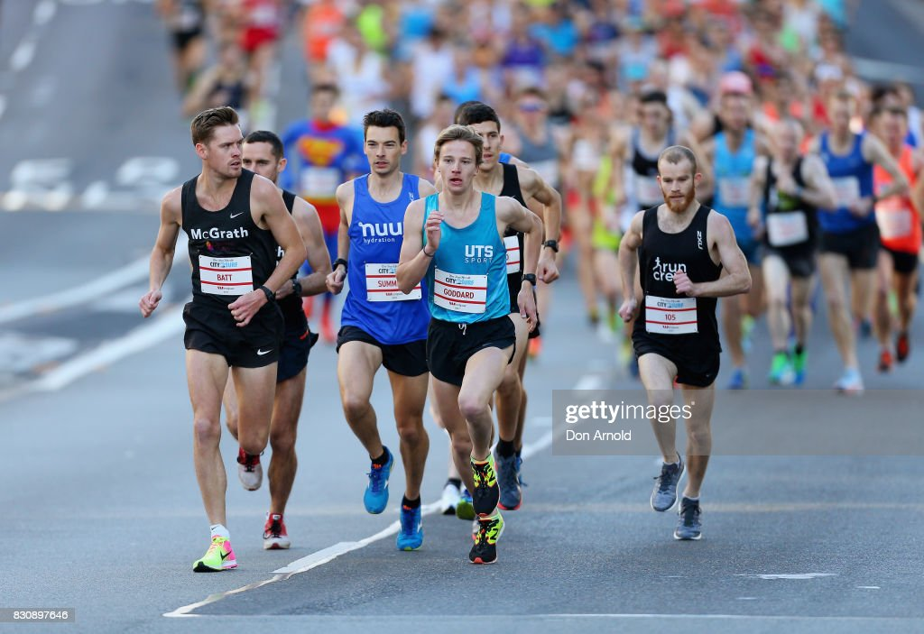 Lead runners head up William Street during the start of the 2017 City to Surf on August 13, 2017 in Sydney, Australia.
