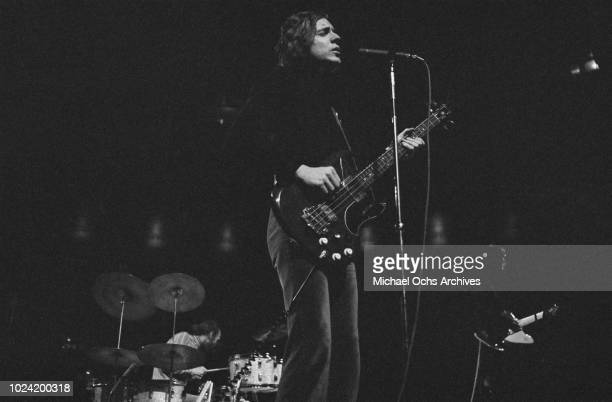 Lead singer and bass guitarist Jack Bruce of British rock band Cream in concert circa 1967