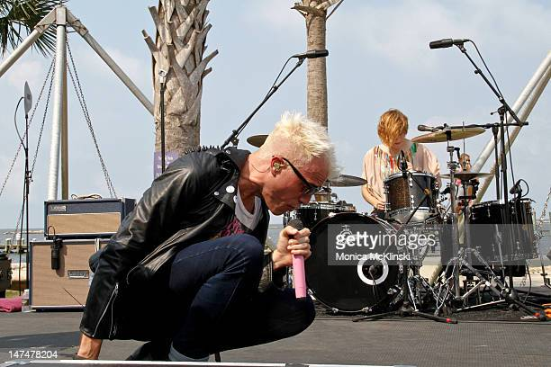 Lead Singer and Keyboardist Tyler Glenn of The Neon Trees performs during the MTV VH1 CMT LOGO O Music Awards at The Wet Spot Pool in The Hard Rock...