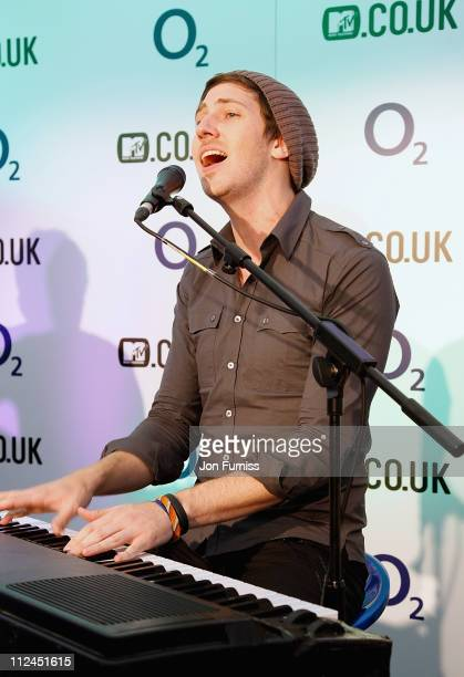 Lead singer and pianist of Melee Chris Cron perform during the Secret Sessions during Day Four of the O2 Wireless Festival in Hyde Park on July 6...
