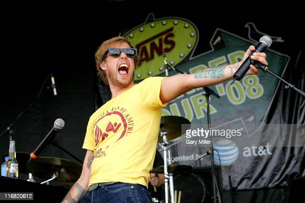 Lead singer Andrew McMahon of Jack's Mannequin performs during the Van's Warped Tour at the Verizon Wireless Amphitheater on July 5 2008 in San...
