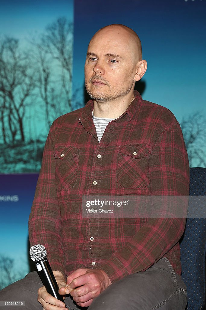 Lead singer Billy Corgan of The Smashing Pumpkins attends a press conferece to promote the new The Smashing Pumpkins album 'Oceania' and tonight Arena Ciudad de Mexico concert at Nikko hotel on September 22, 2012 in Mexico City, Mexico.