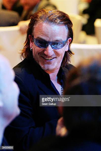 U2 lead singer Bono attends the Global Business Coalition on HIV/AIDS Awards and Dinner at the DaimlerChrysler Atrium on April 21 2004 in Berlin...