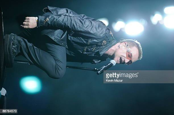 Lead singer Bono of U2 performs onstage during the U2 360 opener at the Camp Nou stadium on June 30 2009 in Barcelona Spain