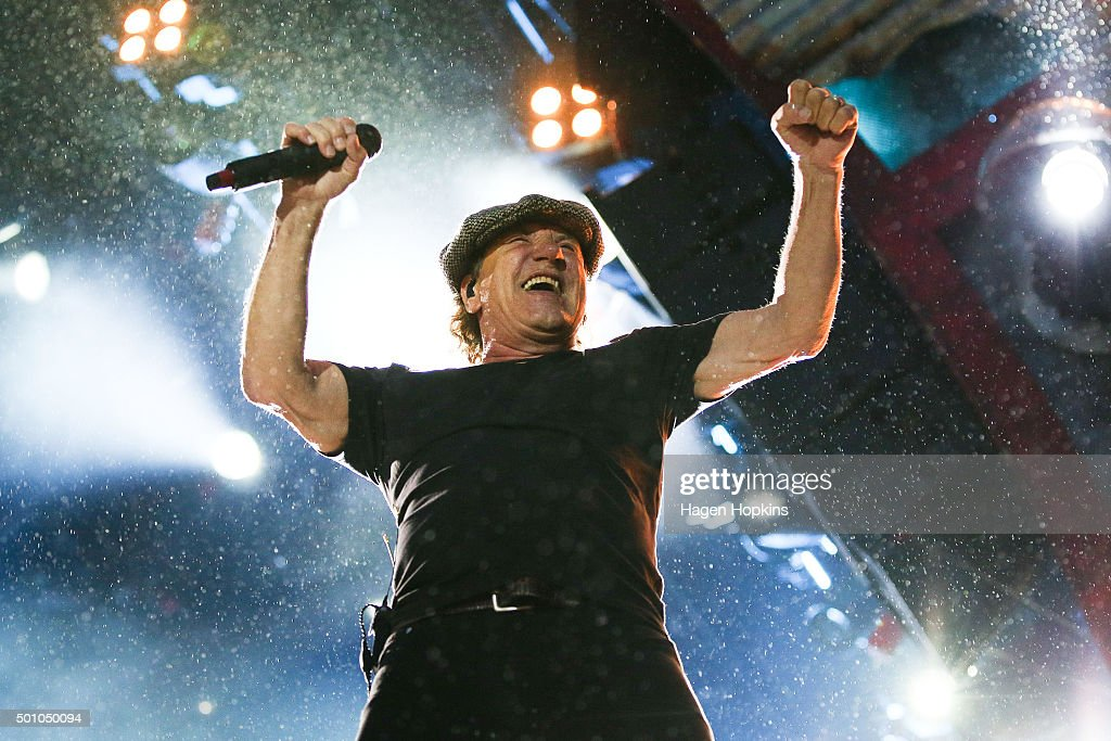 Lead singer Brian Johnson of AC/DC performs live at Westpac Stadium on December 12, 2015 in Wellington, New Zealand.