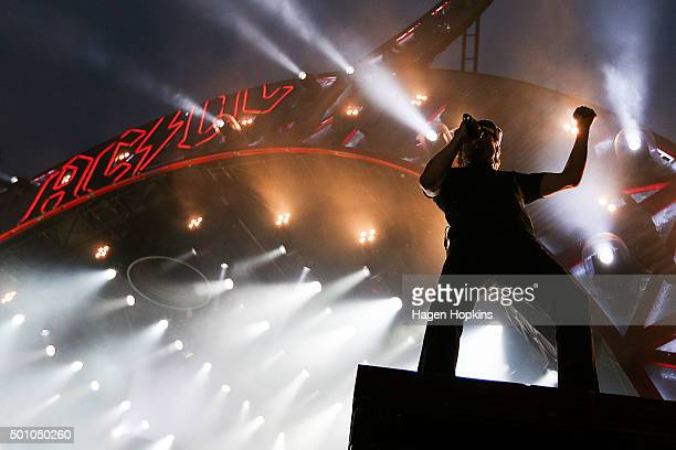 Lead singer Brian Johnson of AC/DC performs live at Westpac Stadium on December 12 2015 in Wellington New Zealand