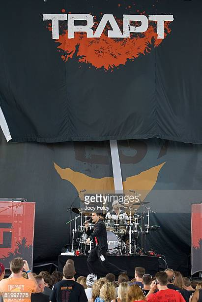 Lead singer Chris Brown of the rock band Trapt performs live during Crue Fest 2008 at the Verizon Wireless Music Center on July 18 2008 in...