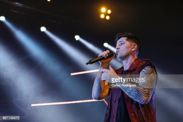 Lead singer Danny O'Donoghue of The Script performs on March 23 2018 in Lisbon Portugal