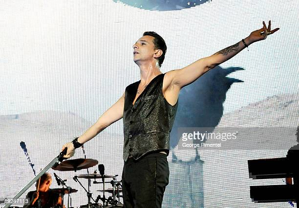 Lead Singer Dave Gahan of Depeche Mode performs in concert for the opening of their tour at the Molson Amphitheatre on July 24 2009 in Toronto Canada
