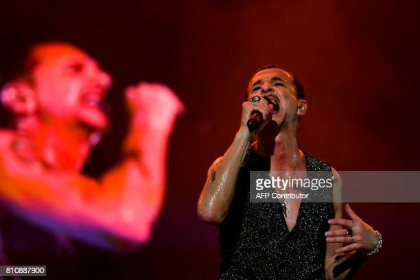 Lead singer Dave Gahan of the British band Depeche Mode performs at the 11th Alive Festival in Oeiras near Lisbon on July 8 2017 / AFP PHOTO /...