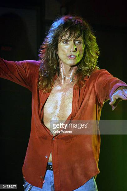 Lead singer David Coverdale of Whitesnake rocks out on their The Rock Never Stops Tour the House of Blues on August 15, 2003 in Orlando, FL.