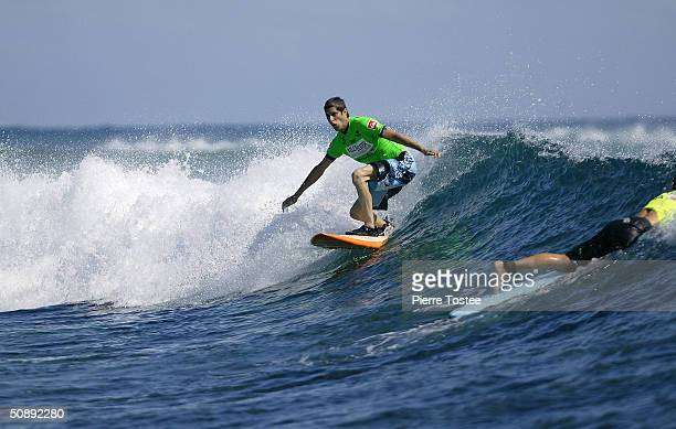 Lead singer for Jane's Addiction Perry Farrell surfs to victory in the celebrity division of the Kelly Slater Invitational May 24 2004 at the surf...