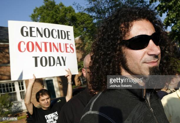 Lead singer for System of a Down Serj Tankian attends a demonstration remembering the Armenian Genocide in front of the Turkish Embassy April 24 in...
