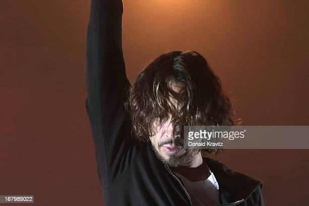 Lead singer guitarist Chris Cornell of Soundgarden performs at Borgata Hotel Casino Spa on May 3 2013 in Atlantic City New Jersey