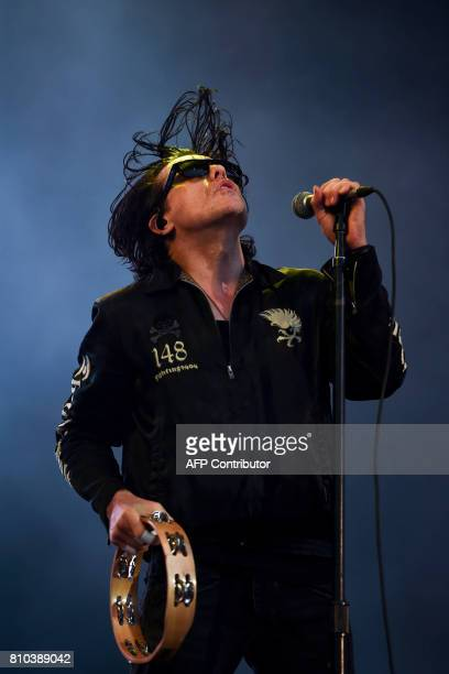 Lead singer Ian Astbury from the British rock band The Cult performs at the 11th Alive Festival in Oeiras near Lisbon on July 7 2017 / AFP PHOTO /...