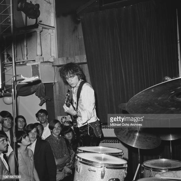 Lead singer Jack Bruce of British rock band Cream in concert USA circa 1967