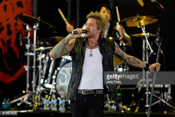 Lead singer James Michael of the rock band SixxAM performs live during Crue Fest 2008 at the Verizon Wireless Music Center on July 18 2008 in...
