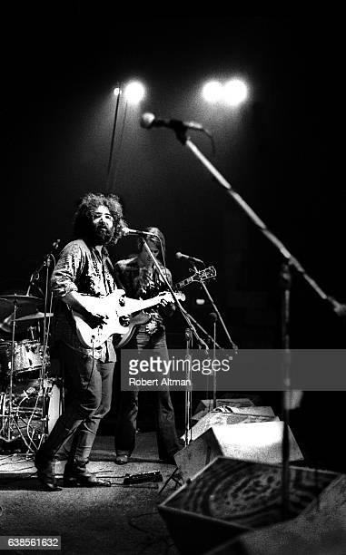 Lead singer Jerry Garcia and guitarist Phil Lesh of The Grateful Dead perform at the New Years Eve Winterland on December 31 1970 at the Winterland...