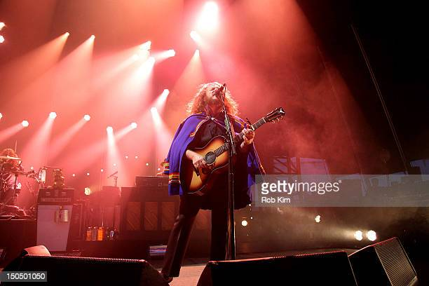 Lead singer Jim James of My Morning Jacket performs during the 2012 Lacoste Lve Concert Series at the Williamsburg Waterfront on August 19 2012 in...