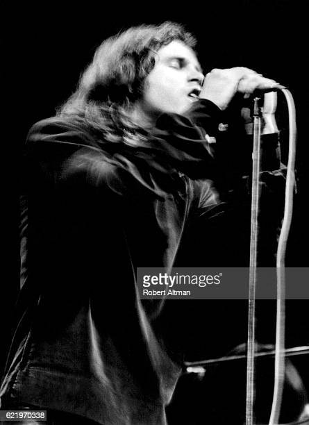 Lead singer Jim Morrison of The Doors sings during a performence at the Fillmore East circa 1967 in New York New York