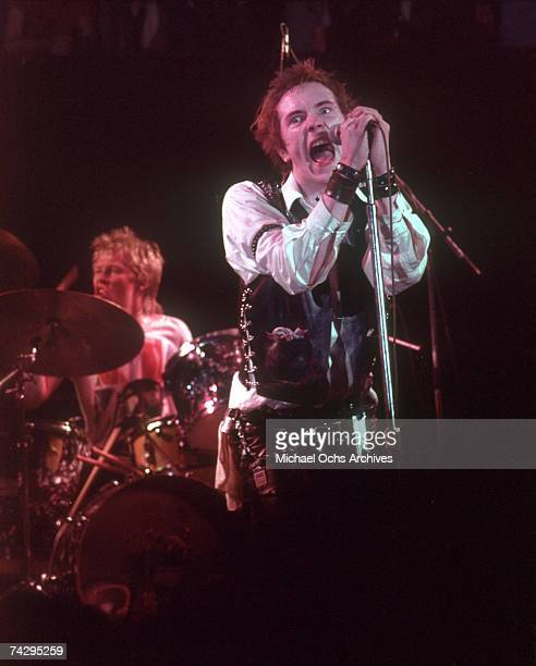 Lead singer Johnny Rotten and drummer Paul Cook of the punk band The Sex Pistols perform their last concert in Winterland on January 14 1978 in San...