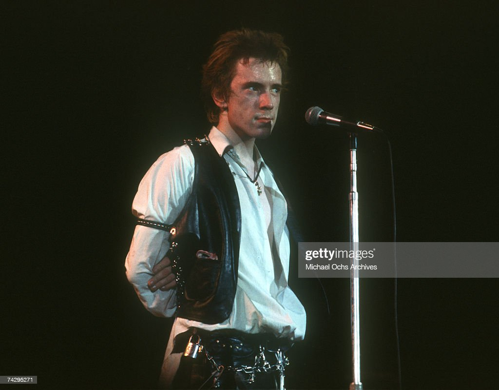 Lead singer Johnny Rotten of the punk band 'The Sex Pistols' perform their last concert in Winterland on January 14, 1978 in San Francisco, California.