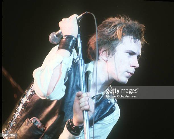 Lead singer Johnny Rotten of the punk band The Sex Pistols perform their last concert in Winterland on January 14 1978 in San Francisco California