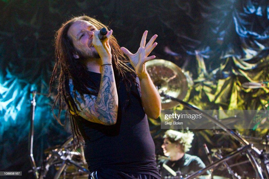 Lead singer Jonathan 'Hiv' Davis of Korn performs at the Mississipi Coast Coliseum on February 5, 2011 in Biloxi City.