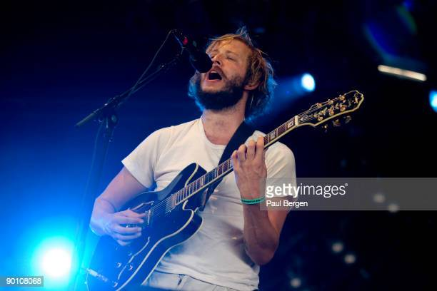 Lead singer Justin Vernon of American indiefolk band Bon Iver performs on stage on the first day of Lowlands festival at Evenemententerrein Walibi...