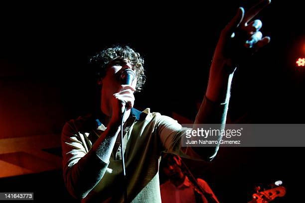 Lead singer Luke Pritchard of The Kooks performs on stage at the Beefeater London Sessions in El Corral de la Pacheca on March 20 2012 in Madrid Spain