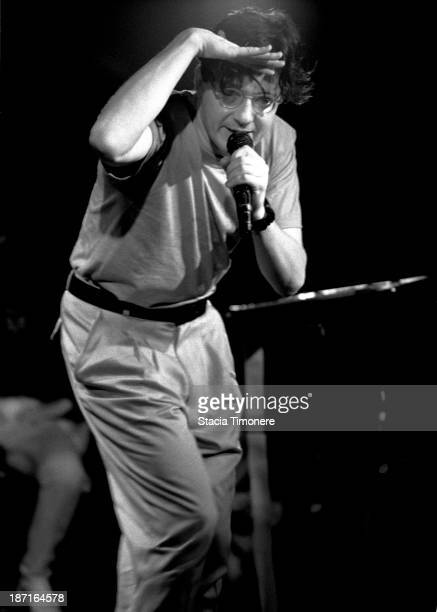 Lead singer Mark Mothersbaugh performing with American New Wave band Devo on stage at Cabaret Metro in Chicago Illinois USA on 4th November 1988