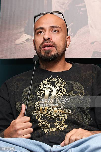 Lead singer MC Babo of Cartel de Santa attends the launch their new album 'Vol 4' at Auditorio Sony Music on November 19 2008 in Mexico City Mexico