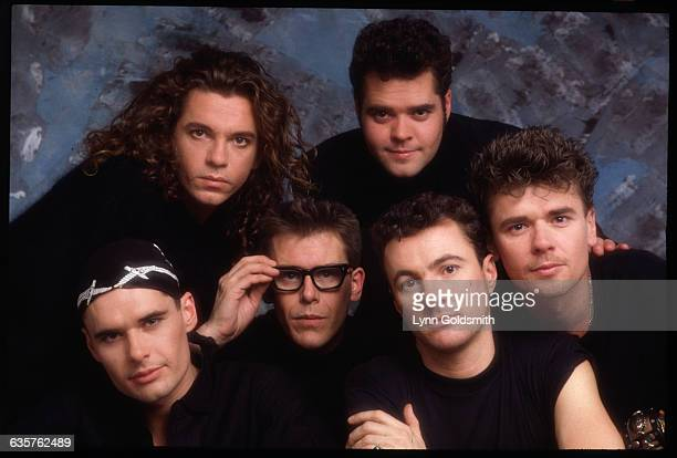 Lead singer Michael Hutchence with INXS band members clockwise from top right Andrew Farriss Tim Farriss