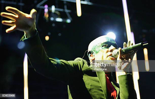 Lead singer Michael Stipe performs live on stage at Burswood Dome on April 08, 2005 in Perth, Australia.