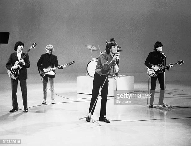 "Lead singer Mick Jagger and the musicians of the Rolling Stones perform on the ""Ed Sullivan Show."""